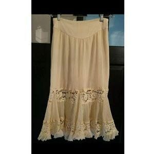 Free People Lace therapy xs boho skirt Beige maxi